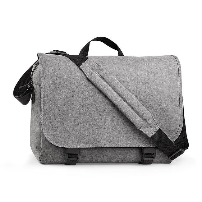 Grey Marl - Front - BagBase Two-tone Digital Messenger Bag (Up To 15.6inch Laptop Compartment) (Pack of 2)