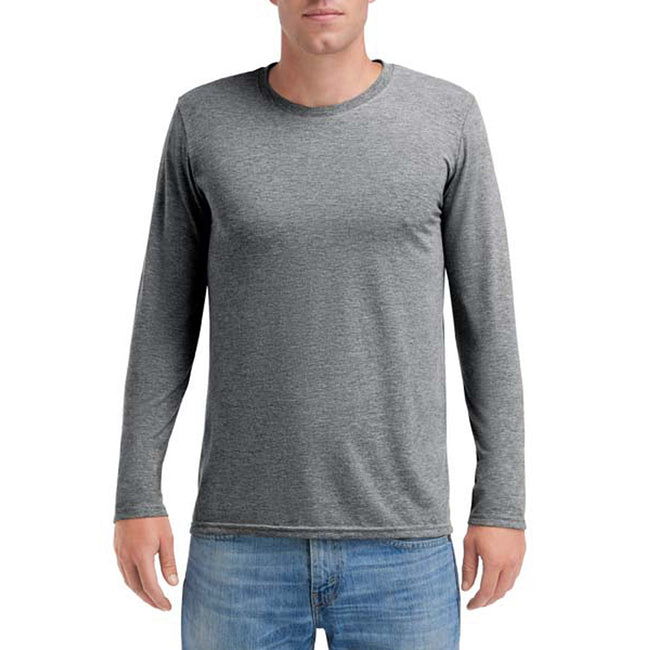 Heather Graphite - Front - Anvil Mens Triblend Long-Sleeve Tee