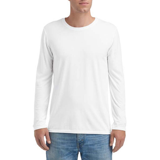 White - Front - Anvil Mens Triblend Long-Sleeve Tee