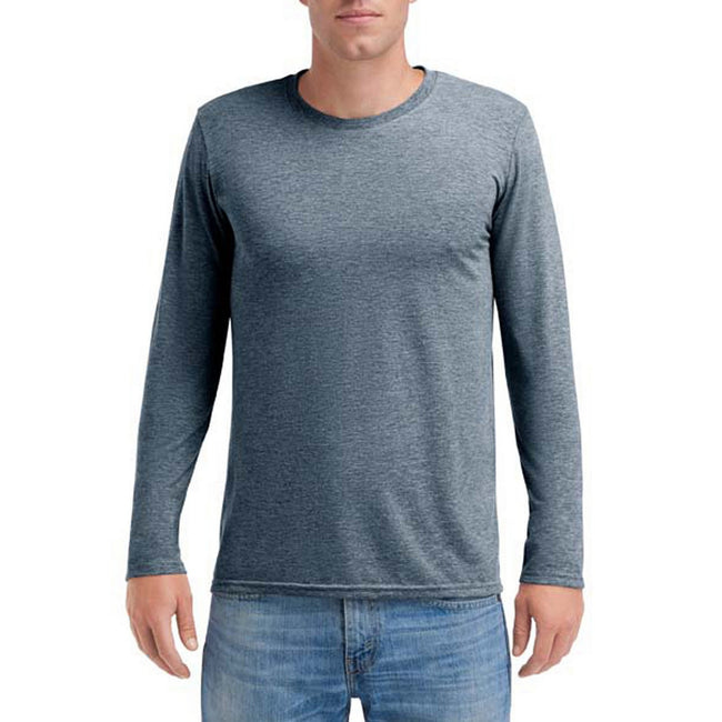 Heather Navy - Front - Anvil Mens Triblend Long-Sleeve Tee