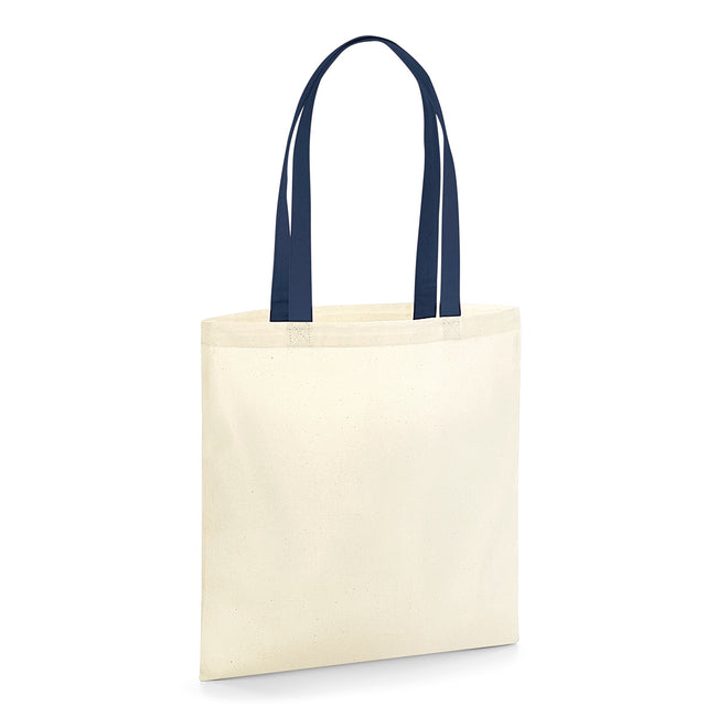 Natural-French Navy - Front - Westford Mill EarthAware Contrast Handle Organic Bag For Life