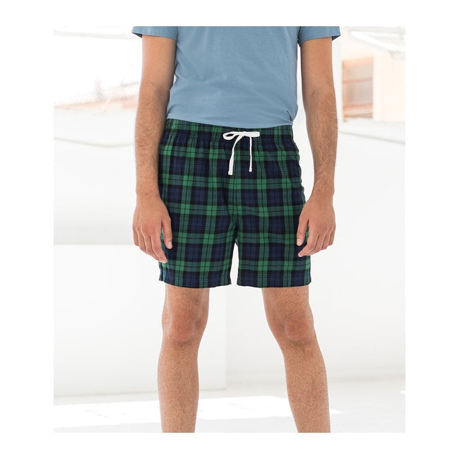Navy-Green Check - Back - Skinni Fit Mens Tartan Lounge Shorts