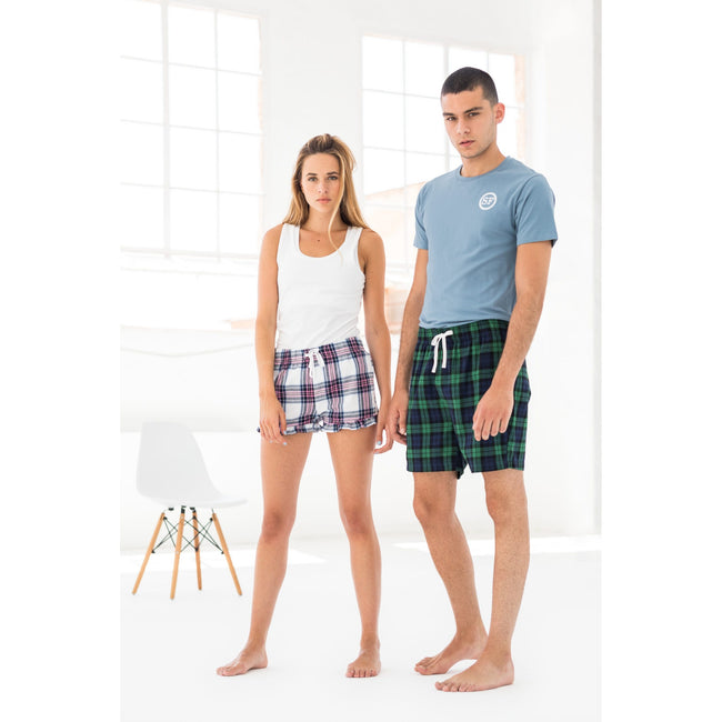 Navy-Green Check - Side - Skinni Fit Mens Tartan Lounge Shorts