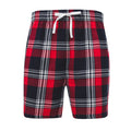 Red-Navy Check - Front - Skinni Fit Mens Tartan Lounge Shorts
