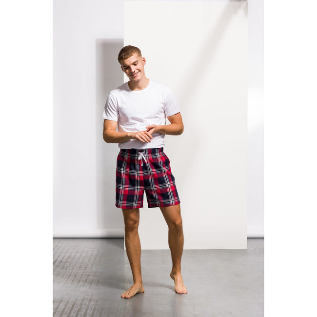 Red-Navy Check - Back - Skinni Fit Mens Tartan Lounge Shorts