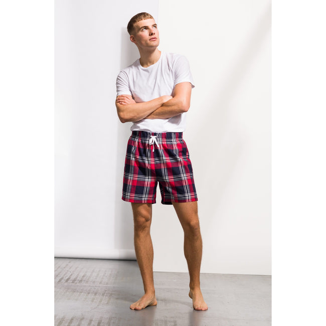 Red-Navy Check - Side - Skinni Fit Mens Tartan Lounge Shorts