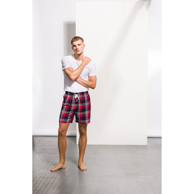 Red-Navy Check - Lifestyle - Skinni Fit Mens Tartan Lounge Shorts