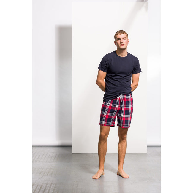 Red-Navy Check - Pack Shot - Skinni Fit Mens Tartan Lounge Shorts