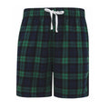 Navy-Green Check - Front - Skinni Fit Mens Tartan Lounge Shorts