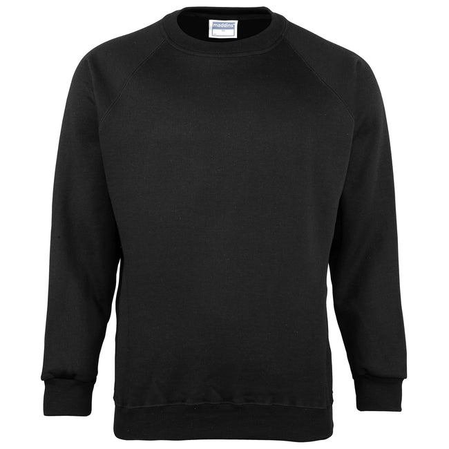 Black - Front - Maddins Mens Colorsure Plain Crew Neck Sweatshirt