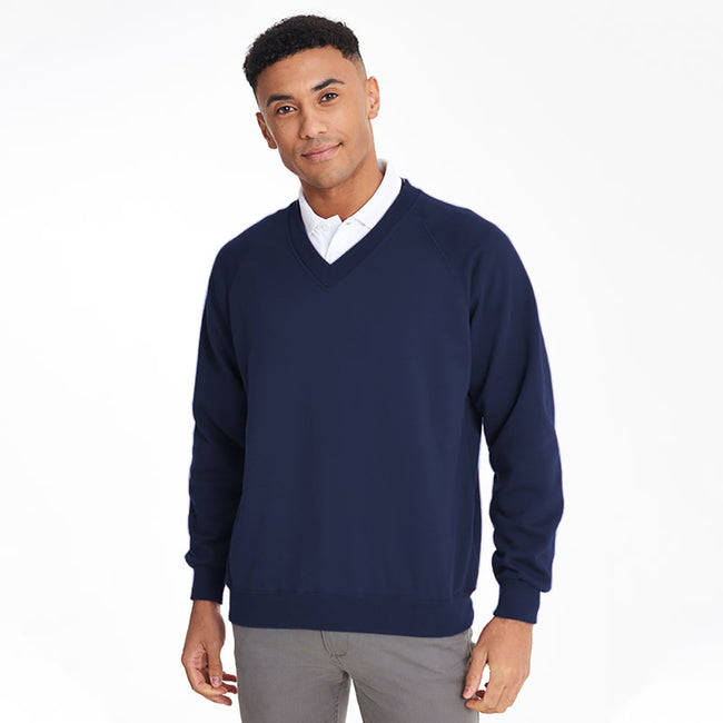 Navy - Back - Maddins Mens Colorsure V-Neck Sweatshirt