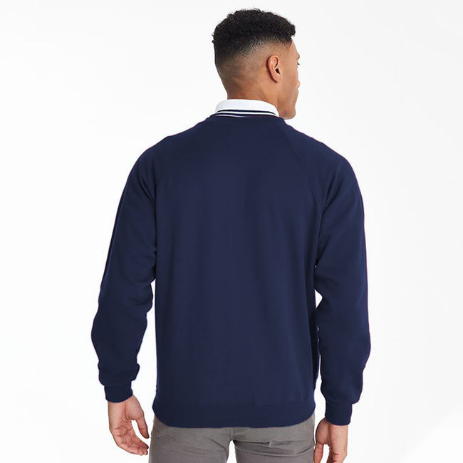 Navy - Side - Maddins Mens Colorsure V-Neck Sweatshirt