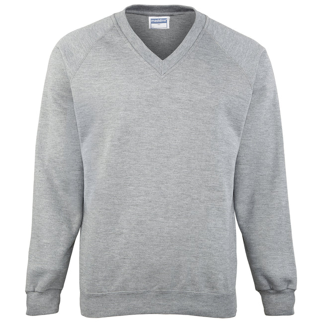 Oxford Grey - Front - Maddins Mens Colorsure V-Neck Sweatshirt