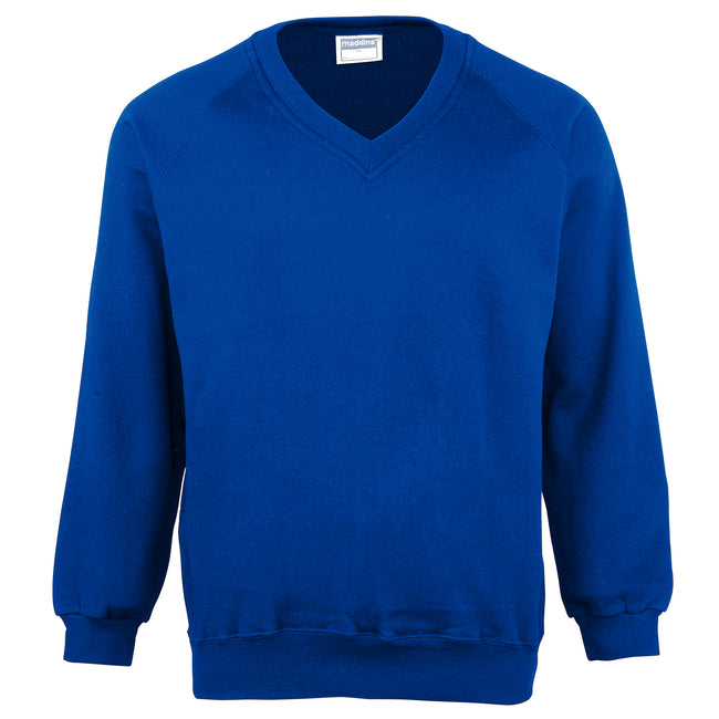 Royal - Front - Maddins Mens Colorsure V-Neck Sweatshirt