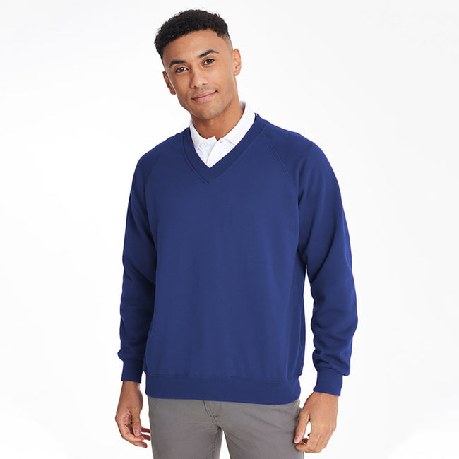 Royal - Back - Maddins Mens Colorsure V-Neck Sweatshirt