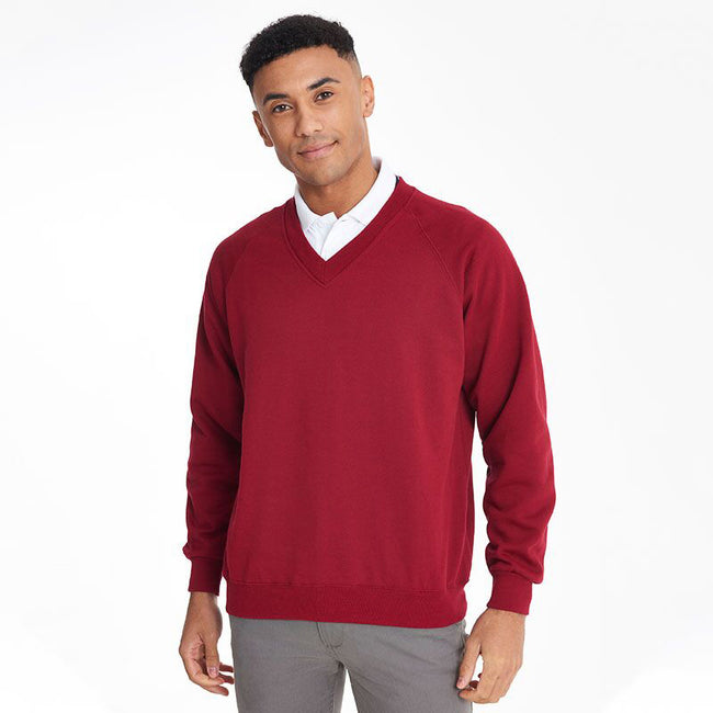 Red - Back - Maddins Mens Colorsure V-Neck Sweatshirt