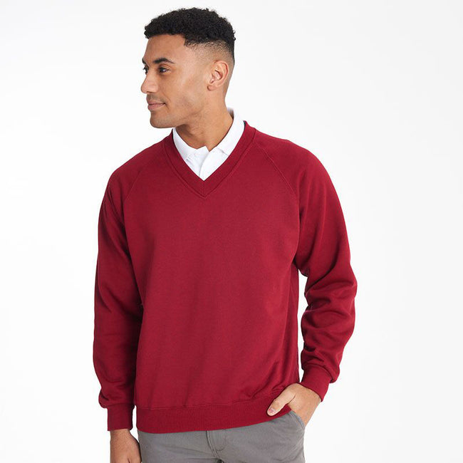 Red - Side - Maddins Mens Colorsure V-Neck Sweatshirt