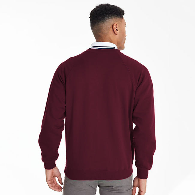 Burgundy - Side - Maddins Mens Colorsure V-Neck Sweatshirt