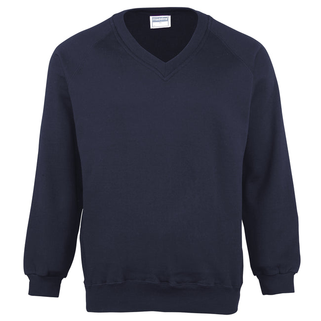 Navy - Front - Maddins Mens Colorsure V-Neck Sweatshirt