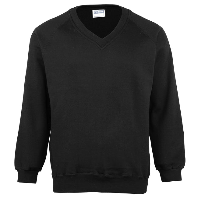 Black - Front - Maddins Mens Colorsure V-Neck Sweatshirt