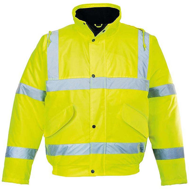Yellow - Front - Portwest Unisex Hi-Vis Bomber Jacket (S463) - Workwear - Safetywear