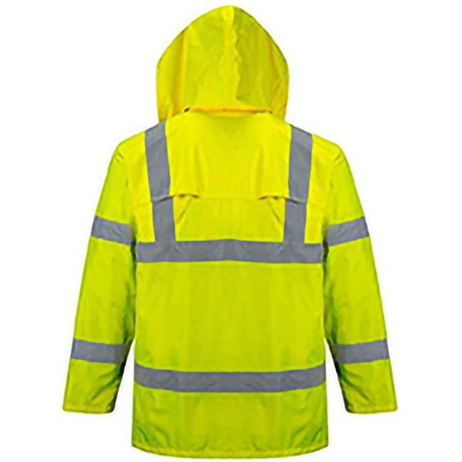 Yellow - Back - Portwest Hi-Vis Rain Jacket (H440) - Safetywear - Workwear