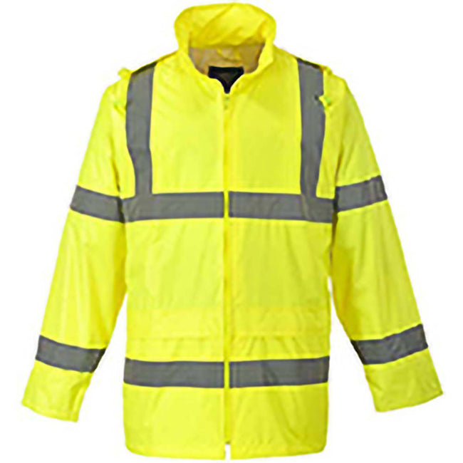 Yellow - Front - Portwest Hi-Vis Rain Jacket (H440) - Safetywear - Workwear