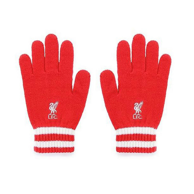Red-White - Front - Liverpool FC Official Knitted Gloves
