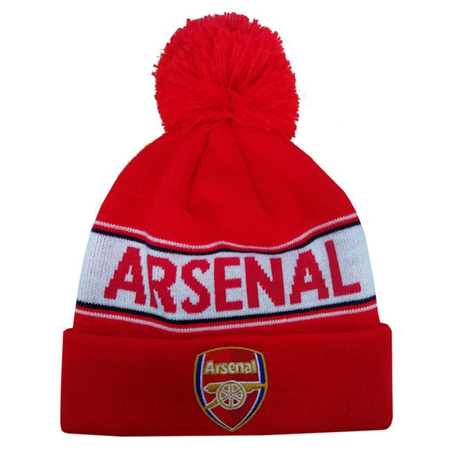 Red - Front - Arsenal FC Adults Unisex Text Cuff Knitted Beanie