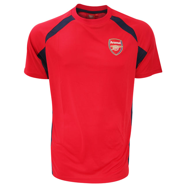 Red-Black - Front - Arsenal FC Mens Official Football Crest Panel T-Shirt