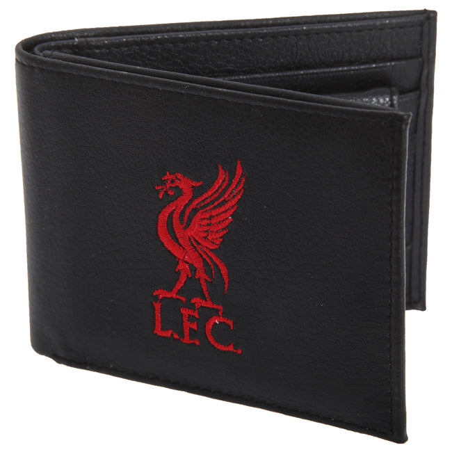 Black - Front - Liverpool FC Mens Official Leather Wallet With Embroidered Football Crest