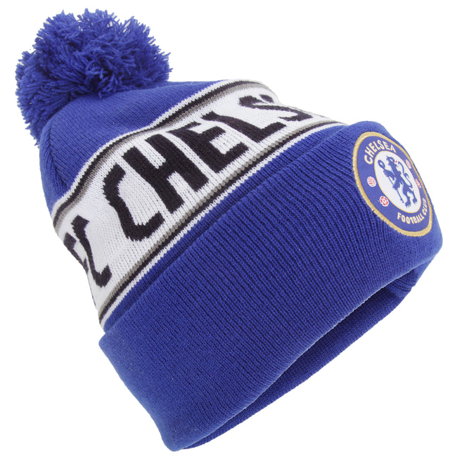 Multicolored - Front - Chelsea FC Official Cuffed Knitted Winter Beanie Hat