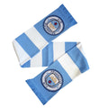 White-Blue - Front - Manchester City FC Official Striped Football-Soccer Supporters Crest Bar Scar