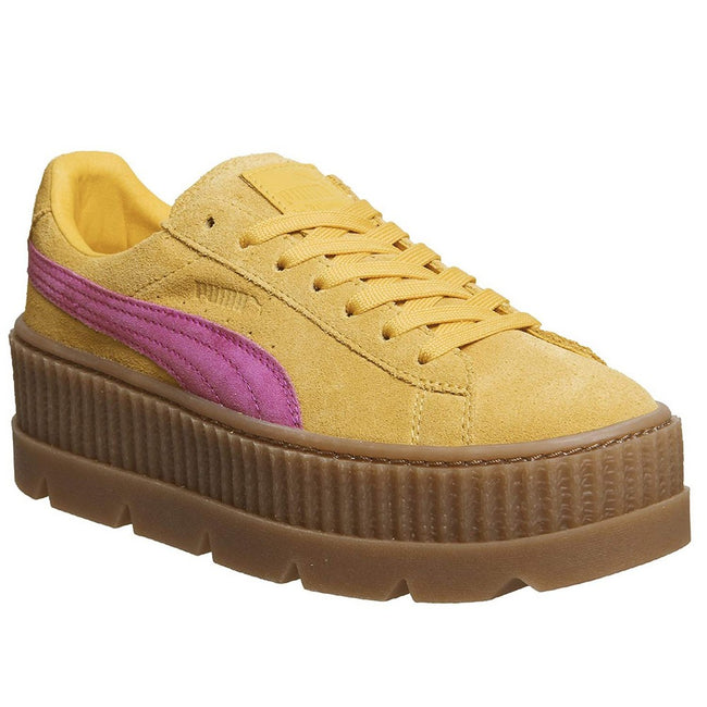 Lemon-Pink - Front - Puma X FENTY By Rihanna Womens-Ladies Cleated Suede Creepers