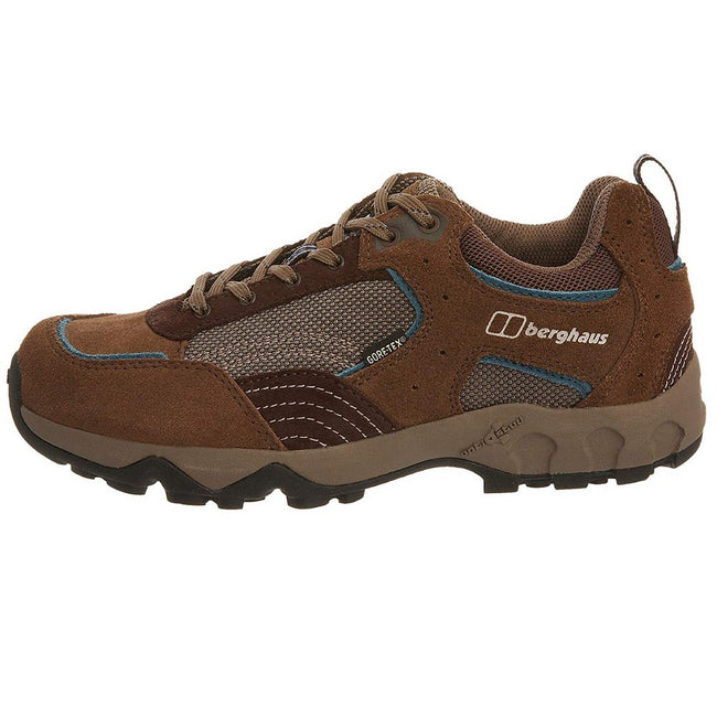 Walnut-Storm Blue - Side - Berghaus Womens-Ladies Explorer Low Cut Gore-Tex Leather Walking Shoes