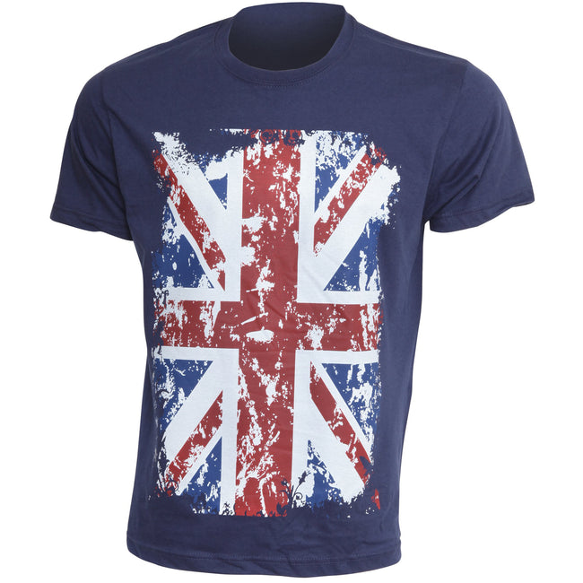 Navy - Front - Mens Union Jack Print Short Sleeve T-Shirt