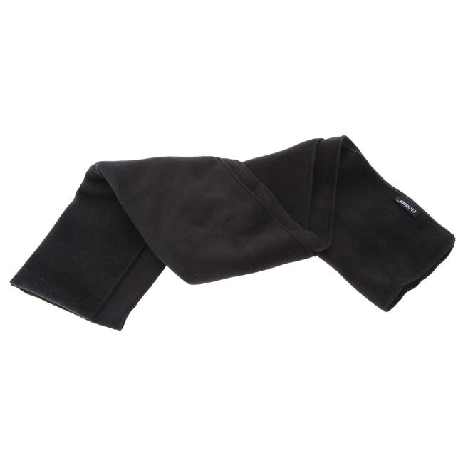 Black - Front - FLOSO Mens Plain Thermal Polar Fleece Winter-Ski Scarf