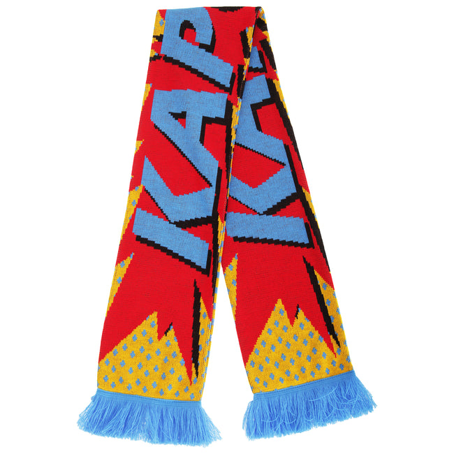 Kapow - Front - FLOSO Unisex Comic Print Knitted Winter Scarf With Fringe