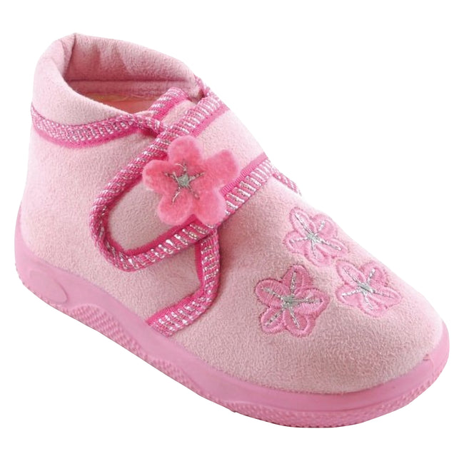 Baby Pink - Front - Little Girls Floral Patterned Slippers With Strap