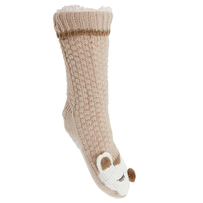 Fox - Front - Slumberzz Womens-Ladies Fluffy Grippy Animal Slipper Socks