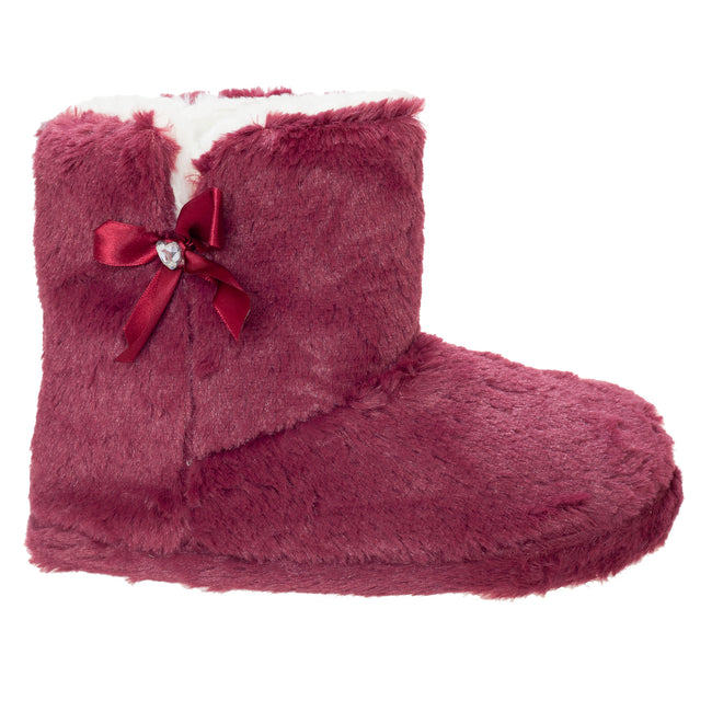 Burgundy - Front - Slumberzzz Womens-Ladies Bow Lined Boot Slippers