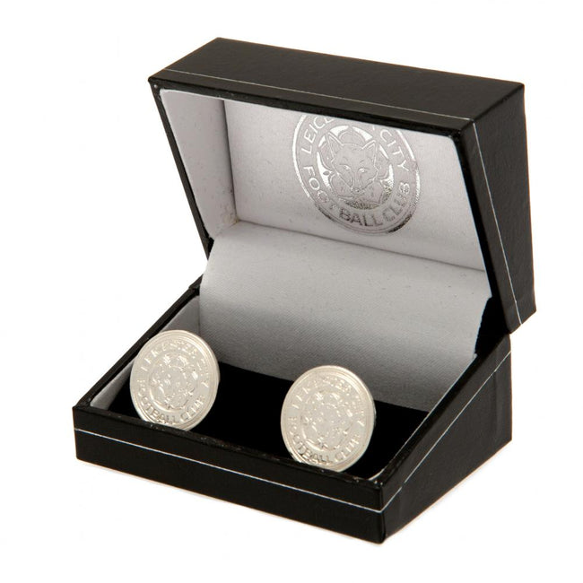 Silver - Back - Leicester City FC Silver Plated Crest Cufflinks