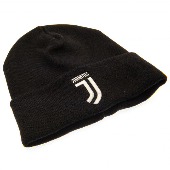 Black-White - Back - Juventus FC Official Adults Unisex Turn Up Knitted Hat