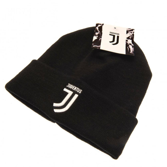Black-White - Side - Juventus FC Official Adults Unisex Turn Up Knitted Hat