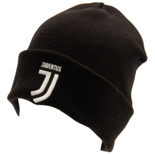 Black-White - Front - Juventus FC Official Adults Unisex Turn Up Knitted Hat