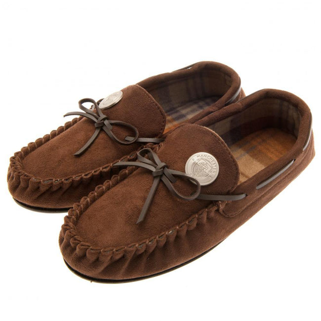 Brown - Front - Manchester City FC Mens Moccasins