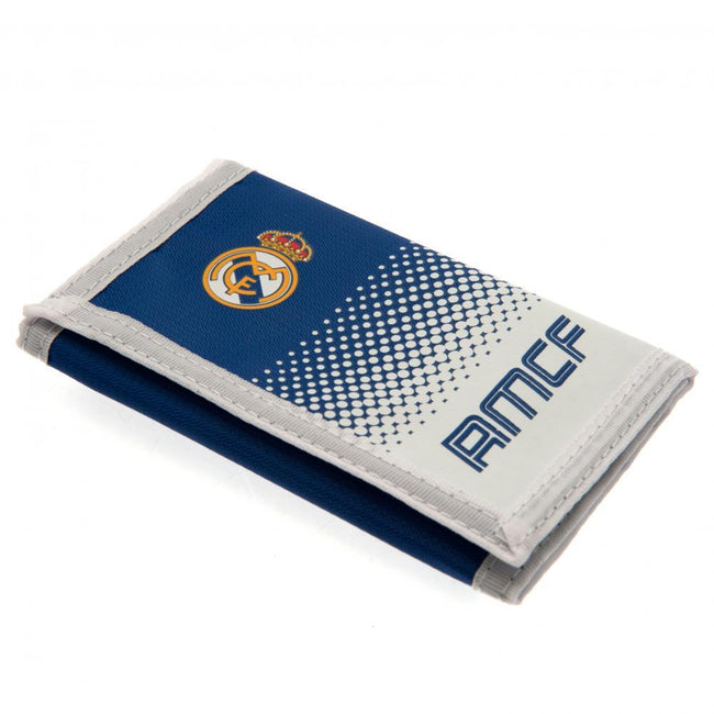 White-Blue - Front - Real Madrid FC Touch Fastening Fade Design Nylon Wallet
