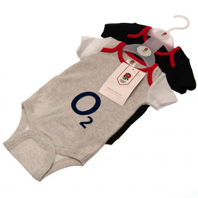 White-Black Marl - Lifestyle - England RFU Baby Bodysuit (Pack Of 2)
