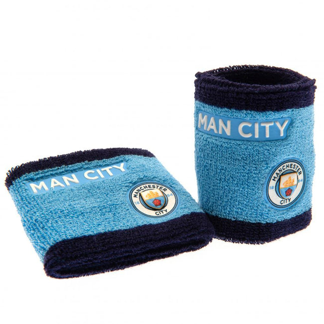 Blue-Black - Front - Manchester City FC Wristbands (Set Of 2)