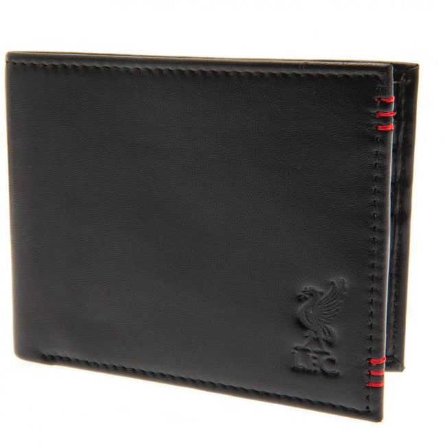Black - Front - Liverpool FC Unisex Adults Leather Stitched Wallet